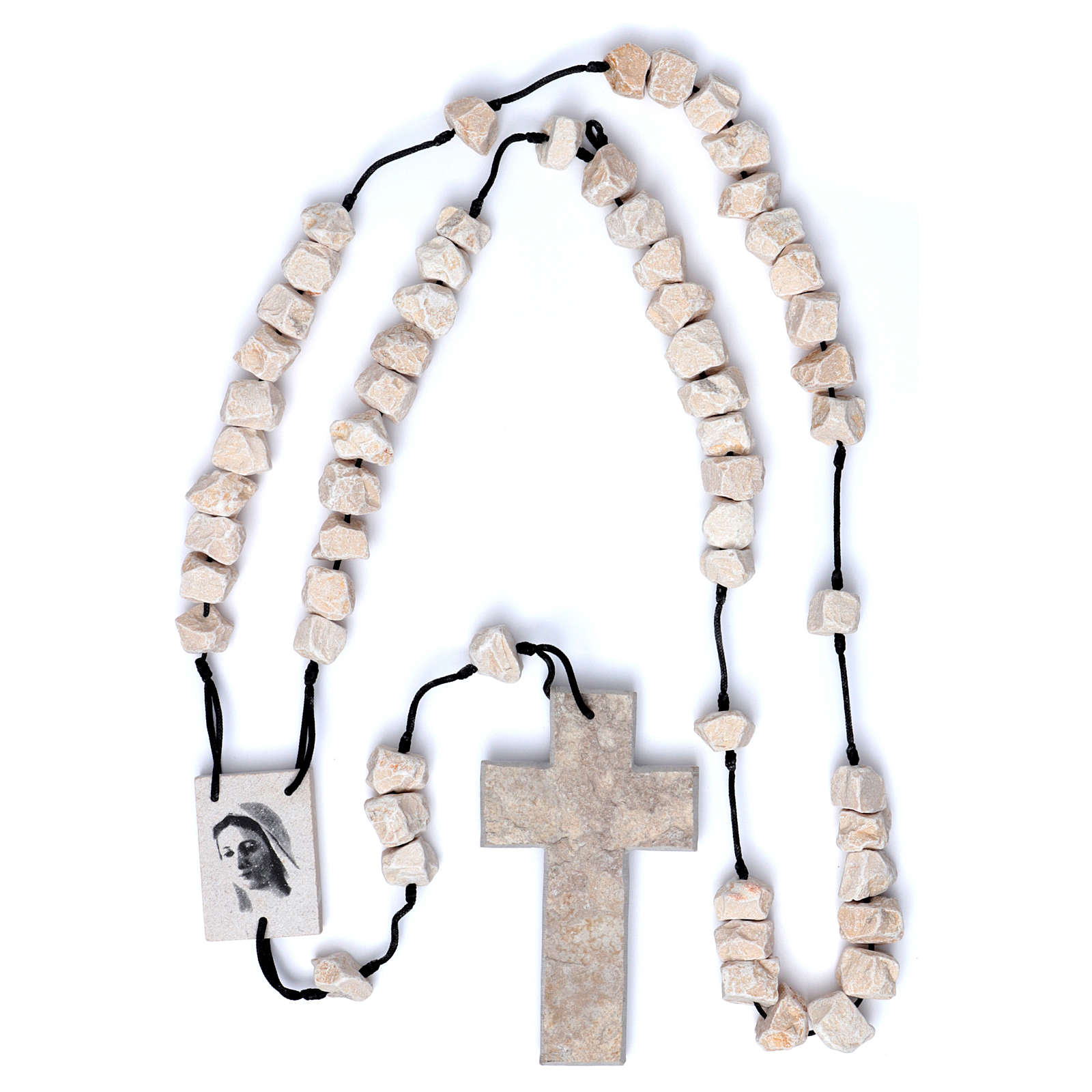 Medjugorje wall rosary in stone and rope 4