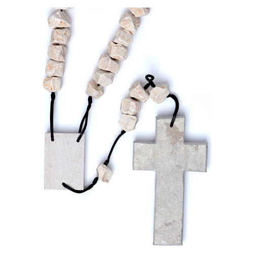 Medjugorje wall rosary in stone and rope 1