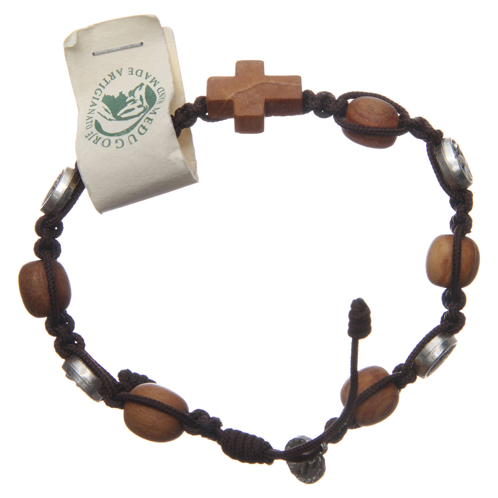 Bracciale Medjugorje ulivo corda marrone Med. Gesù 4