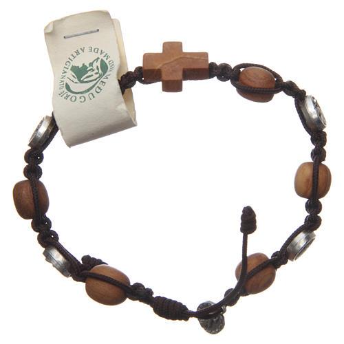 Bracciale Medjugorje ulivo corda marrone Med. Gesù 2