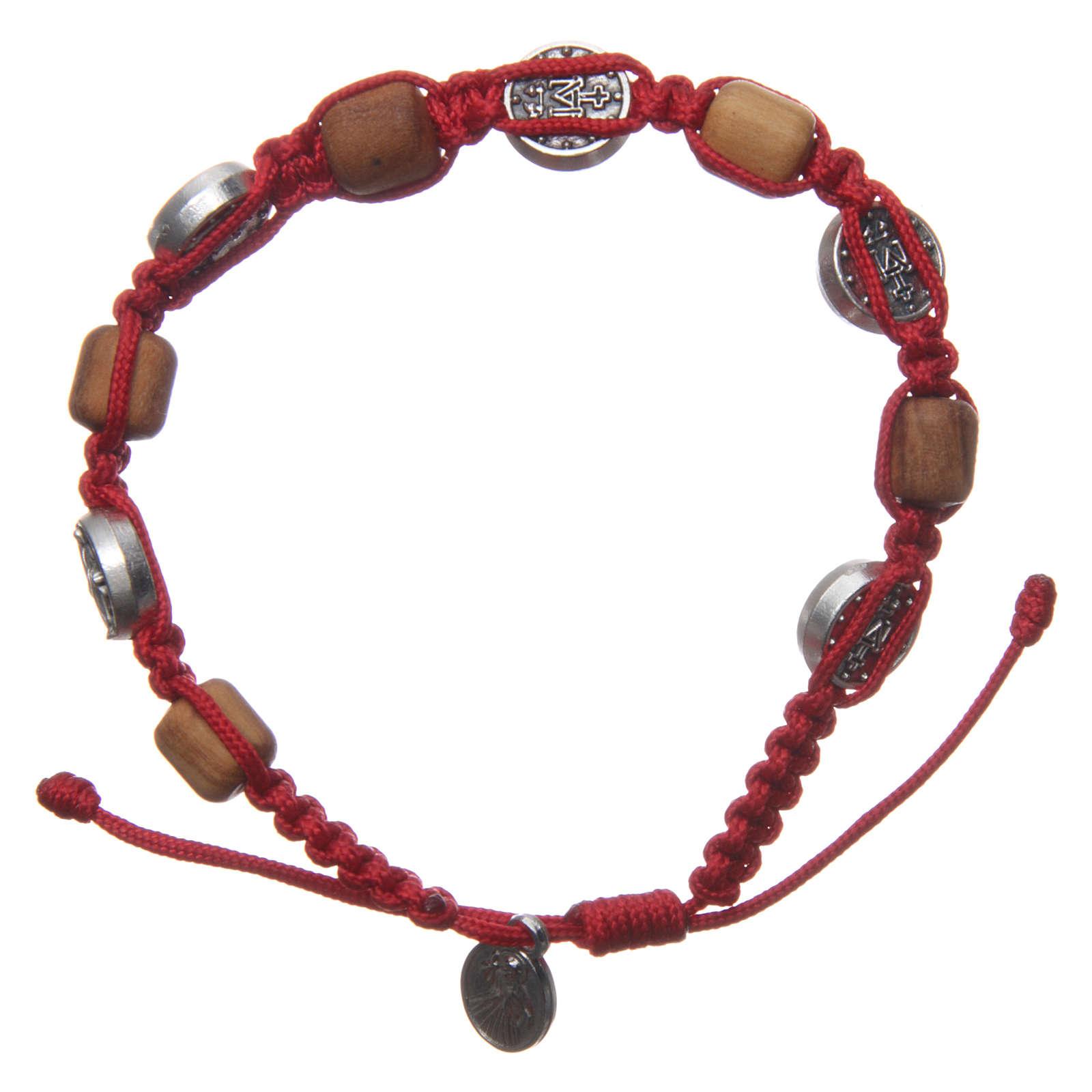 Braccialetto legno ulivo croce San Benedetto corda rossa 4
