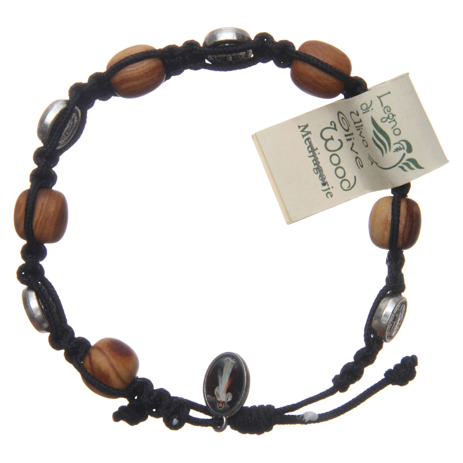 Bracelet in olive wood with Saint Benedict cross and black rope 4