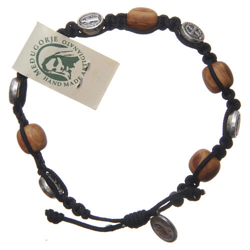 Bracelet in olive wood with Saint Benedict cross and black rope 1