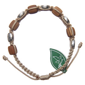 Olive wood bracelet with Saint Benedict cross and beige rope s2