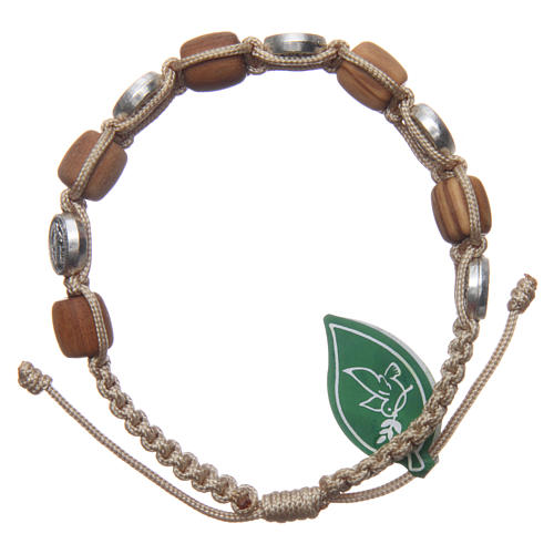 Olive wood bracelet with Saint Benedict cross and beige rope 2