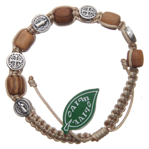 Olive wood bracelet with Saint Benedict cross and beige rope 1