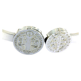 Bracelet Medjugorje médailles St Benoît et croix ressort s3