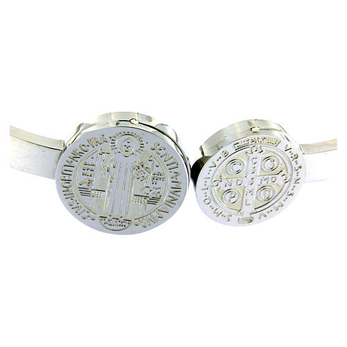 Bracelet Medjugorje médailles St Benoît et croix ressort 3