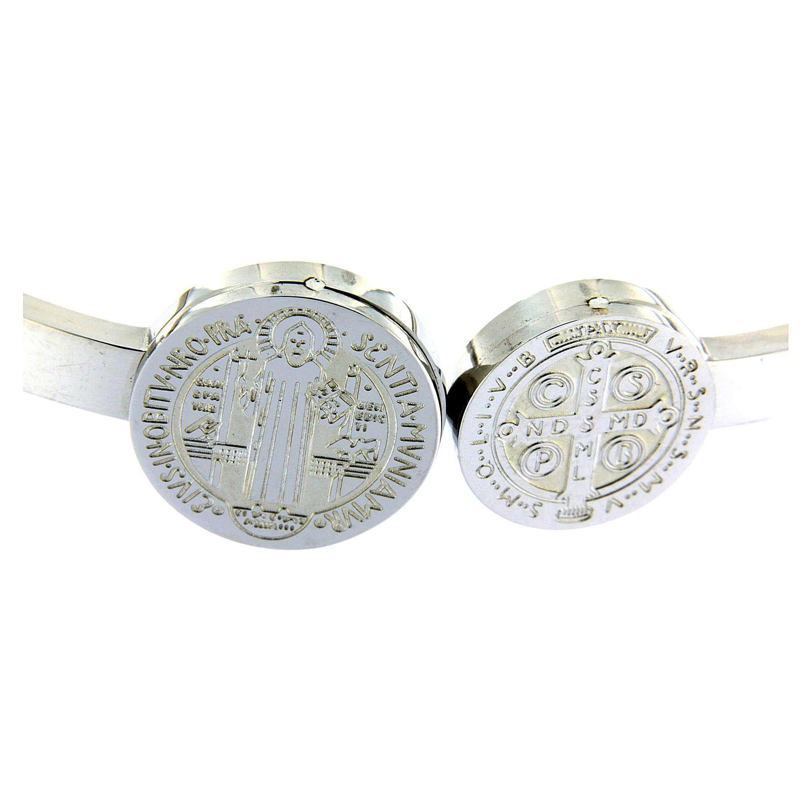 Bracciale Medjugorje medaglioni S. Benedetto e croce a molla 4