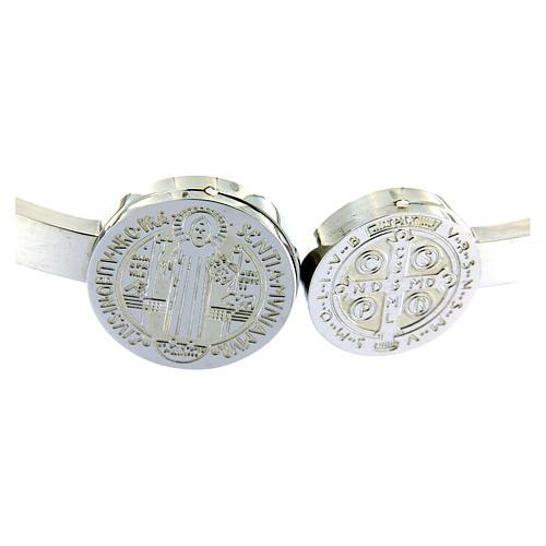 Bracciale Medjugorje medaglioni S. Benedetto e croce a molla 3