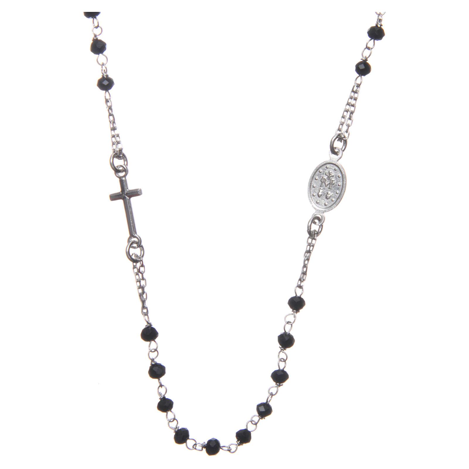 Rosario girocollo Medjugorje argento grani neri e med. Gesù 4