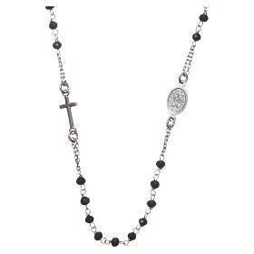 Rosario girocollo Medjugorje argento grani neri e med. Gesù s2