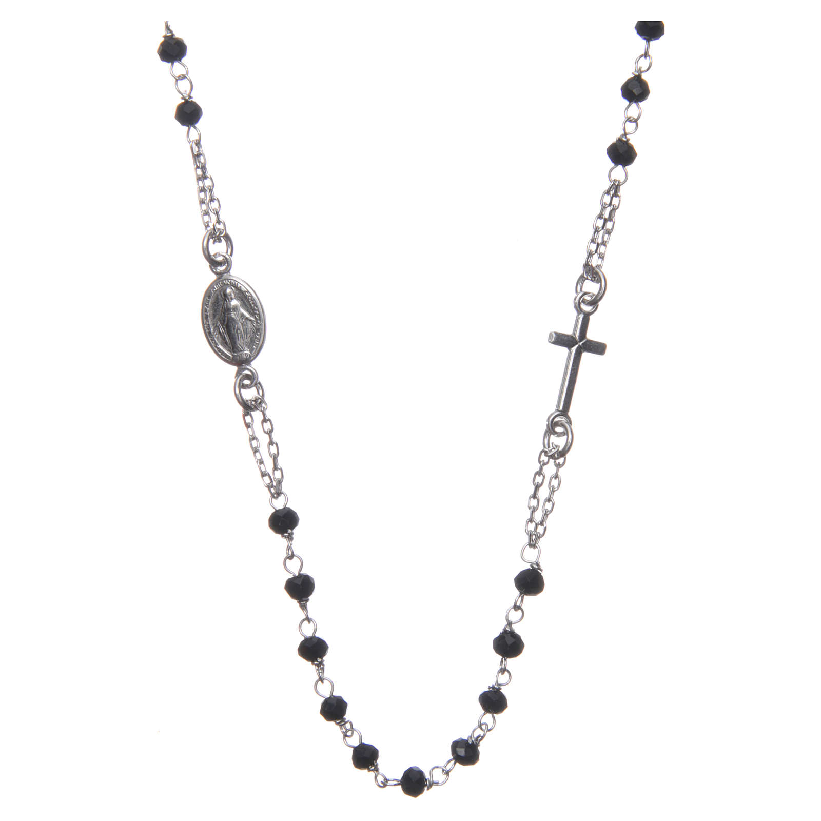 Medjugorje rosary choker in silver with black grains and Jesus medalet 4