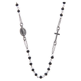 Medjugorje rosary choker in silver with black grains and Jesus medalet s1