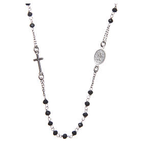 Medjugorje rosary choker in silver with black grains and Jesus medalet s2