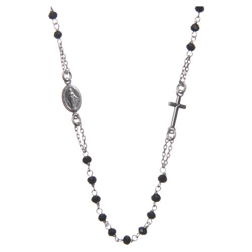 Medjugorje rosary choker in silver with black grains and Jesus medalet 1