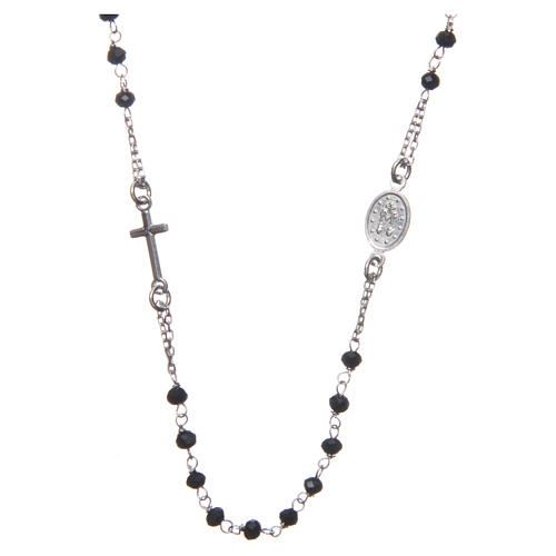 Medjugorje rosary choker in silver with black grains and Jesus medalet 2