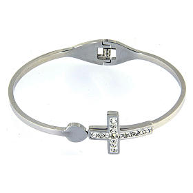 Bracelets, dizainiers: Bracelet Medjugorje croix blanche strass ressort