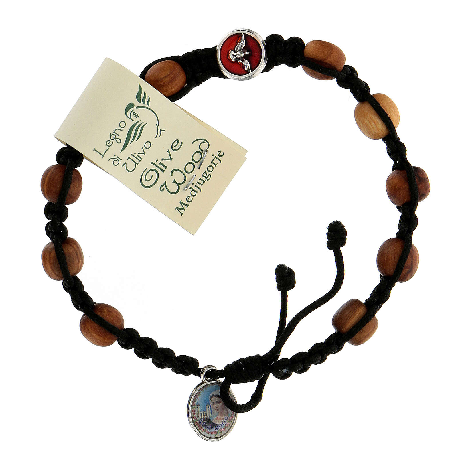 Medjugorje single decade rosary bracelet with Holy Spirit medallions, olive wood grains and black rope 4