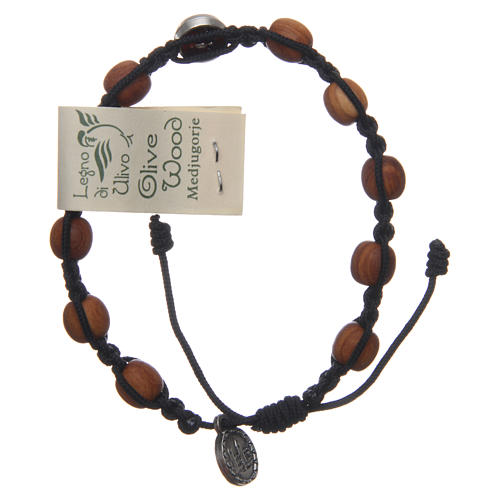 Medjugorje single decade rosary bracelet with Holy Spirit medallions, olive wood grains and black rope 2