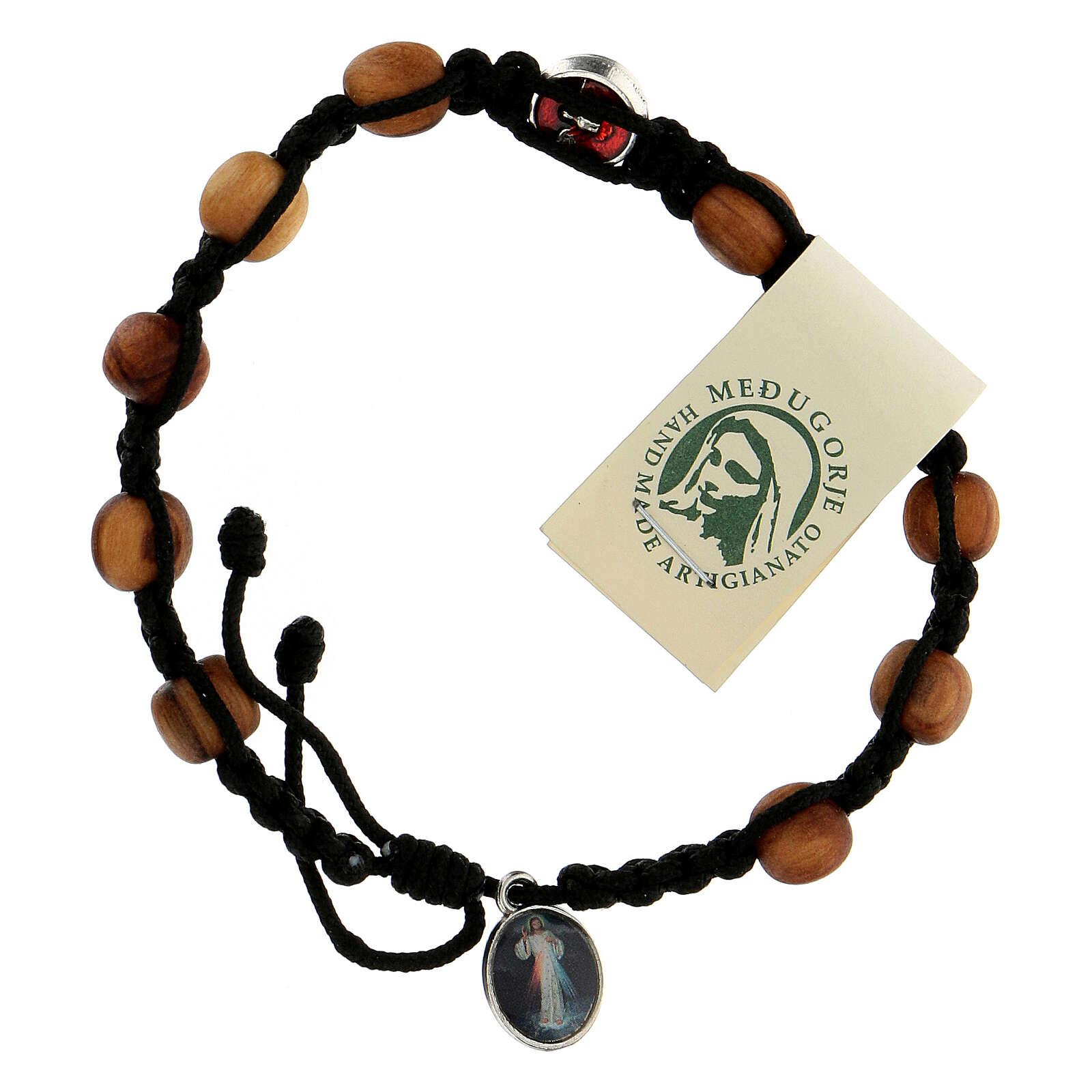Bracelet dizainier Medjugorje médaille Saint Esprit grains olivier corde noire 4