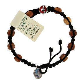 Bracelet dizainier Medjugorje médaille Saint Esprit grains olivier corde noire s1