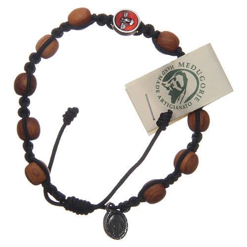 Bracelet dizainier Medjugorje médaille Saint Esprit grains olivier corde noire 1