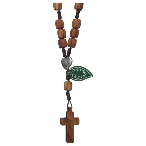 Medjugorje rosary beads with olive wood grains 2