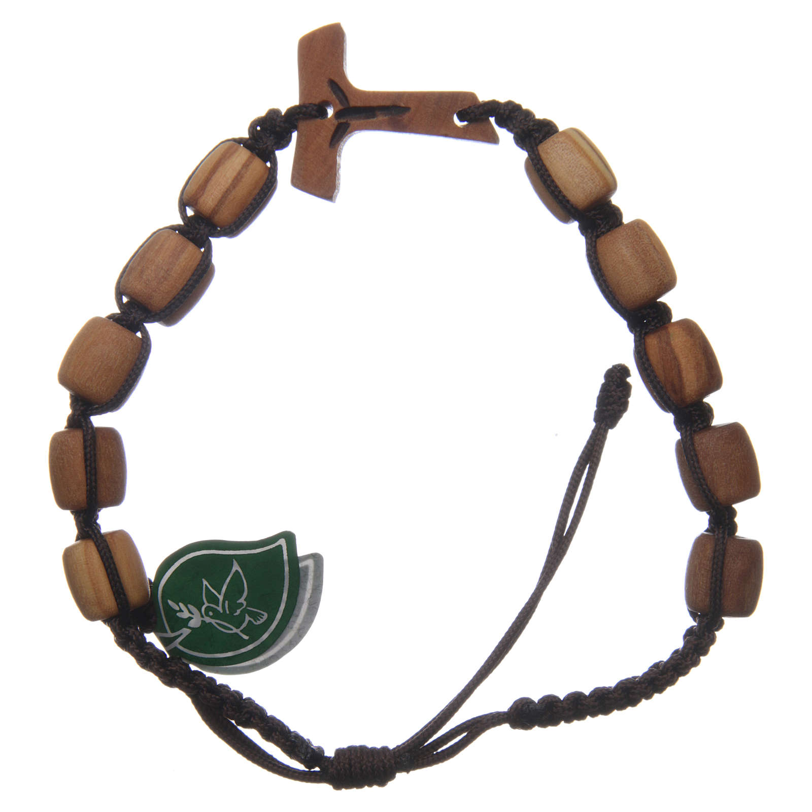 Medjugorje single decade bracelet with Tau cross and olive wood grains in brown cord 4
