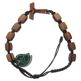 Medjugorje single decade bracelet with Tau cross and olive wood grains in brown cord s1