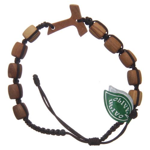 Medjugorje single decade bracelet with Tau cross and olive wood grains in brown cord 2