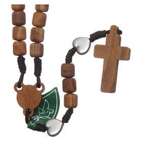 Rosenkranzkette aus Medjugorje, mit Olivenholzperlen und Metallherzen auf brauner Kordel s2