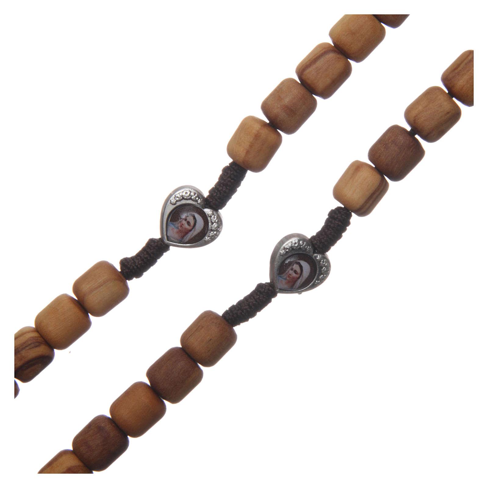 Różaniec Medjugorje serca koraliki drewno oliwne sznurek brązowy 4