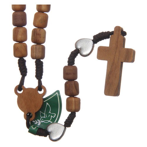 Medjugorje rosary with hearts, olive wood grains and brown rope 2