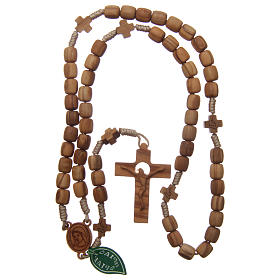 Medjugorje rosary with crosses, 7 mm olive wood grains and beige rope s4