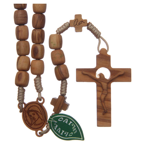 Medjugorje rosary with crosses, 7 mm olive wood grains and beige rope 1