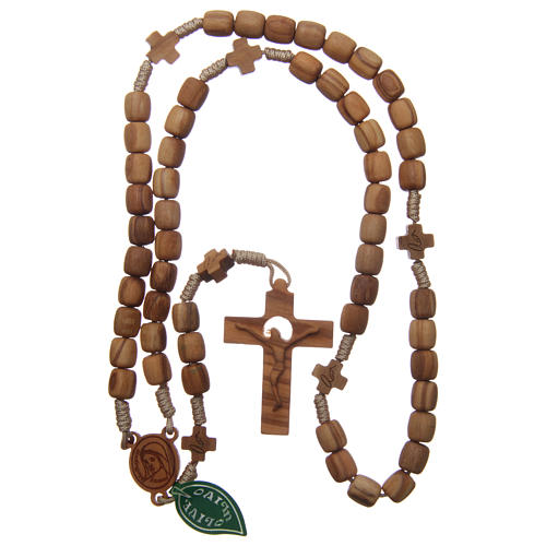 Medjugorje rosary with crosses, 7 mm olive wood grains and beige rope 4