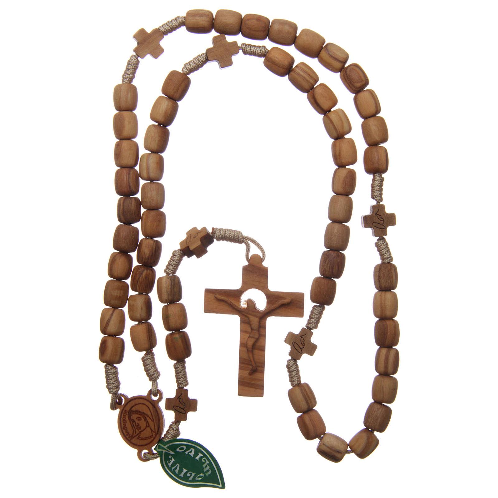 Różaniec Medjugorje krzyże koraliki 7 mm drewno oliwne sznurek beżowy 4