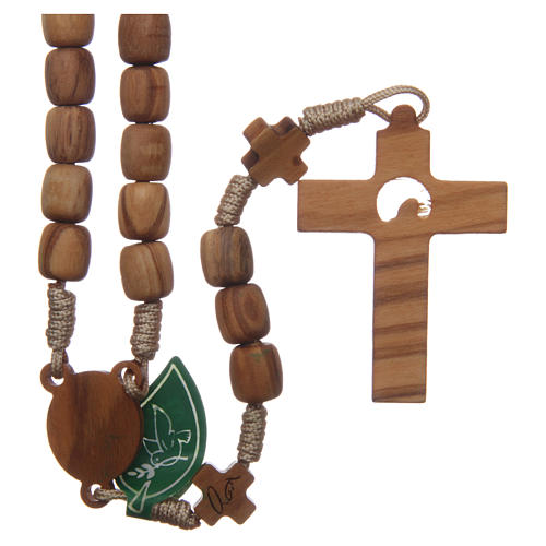 Medjugorje rosary with crosses, 7 mm olive wood grains and beige rope 2