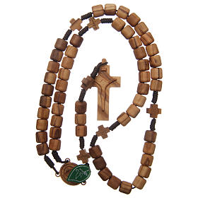 Medjugorje rosary with crosses, olive wood grains and brown rope s4