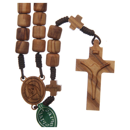 Medjugorje rosary with crosses, olive wood grains and brown rope 1