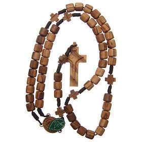 Terço Medjugorje cruzes contas oliveira corda castanho s4