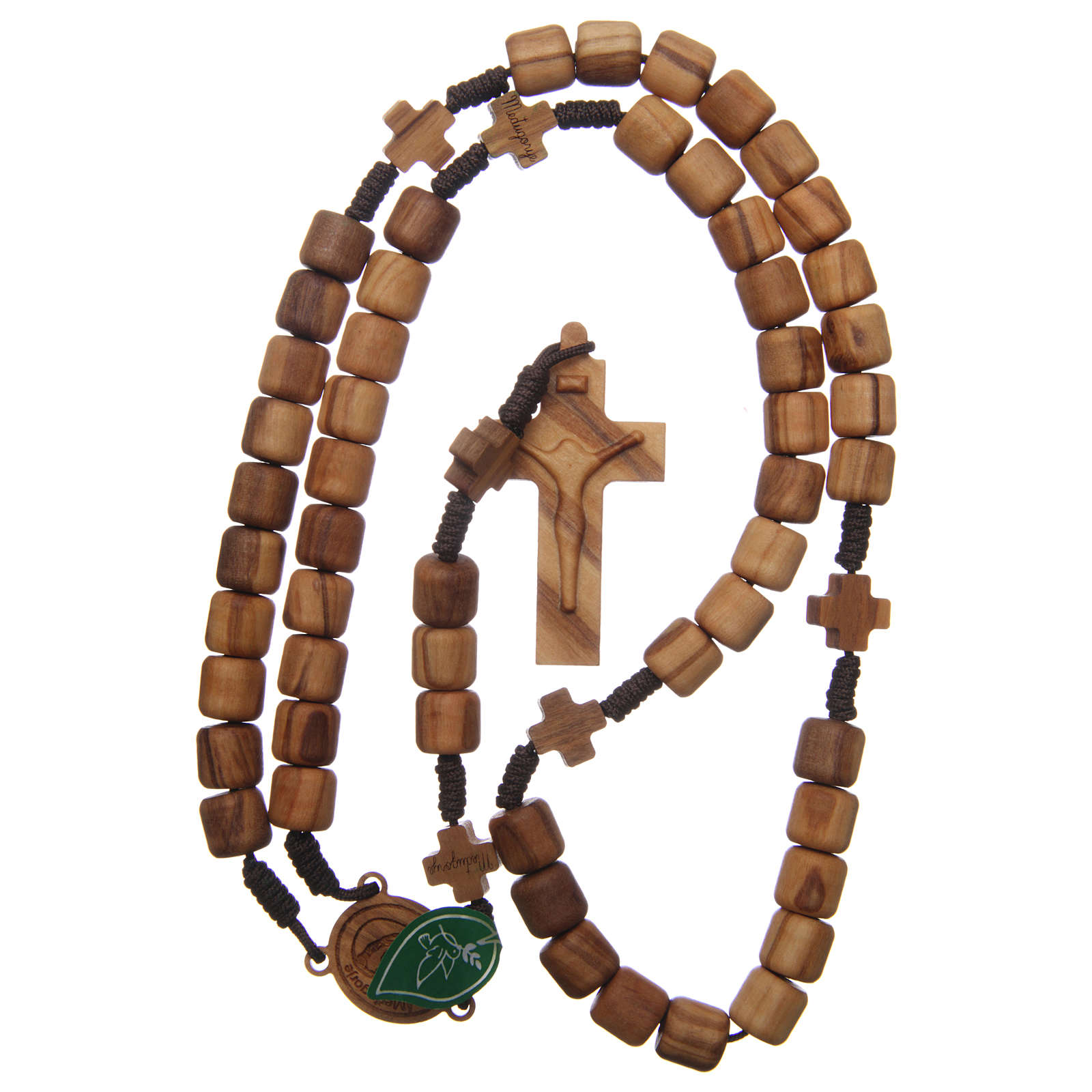Medjugorje rosary with crosses, olive wood grains and brown rope 4