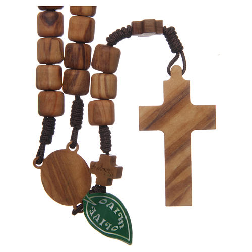 Medjugorje rosary with crosses, olive wood grains and brown rope 2