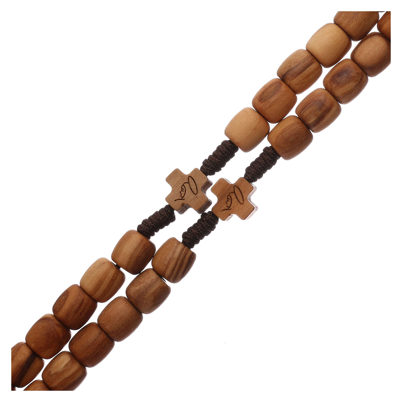 Medjugorje rosary with 7 mm olive wood grains and brown rope 4