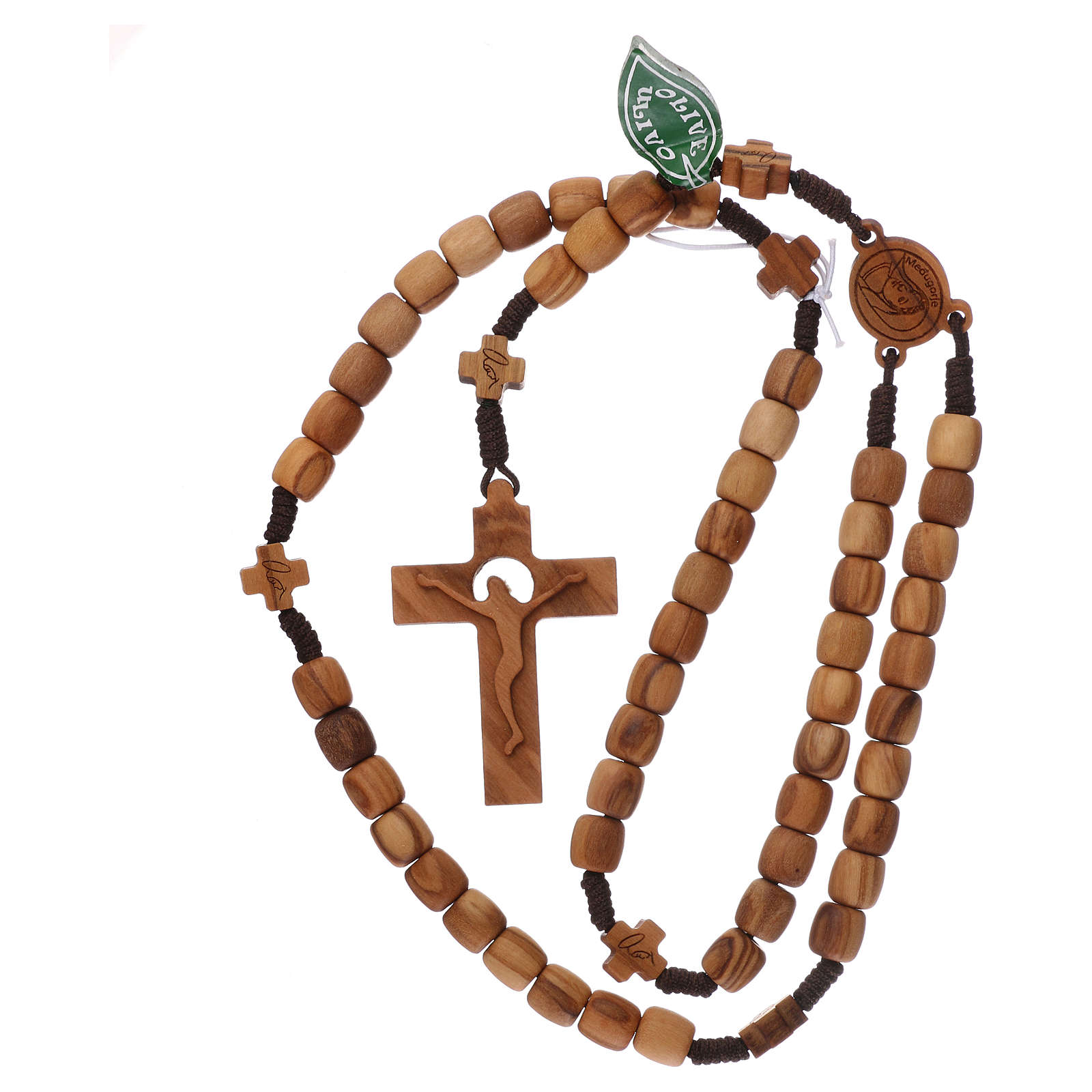 Chapelet Medjugorje croix grains 7 mm olivier corde marron 4
