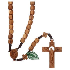 Chapelets et boîte chapelets: Chapelet Medjugorje croix grains 7 mm olivier corde marron