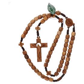 Chapelet Medjugorje croix grains 7 mm olivier corde marron s4