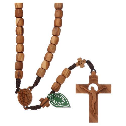 Chapelet Medjugorje croix grains 7 mm olivier corde marron 1