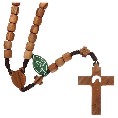 Chapelet Medjugorje croix grains 7 mm olivier corde marron 2
